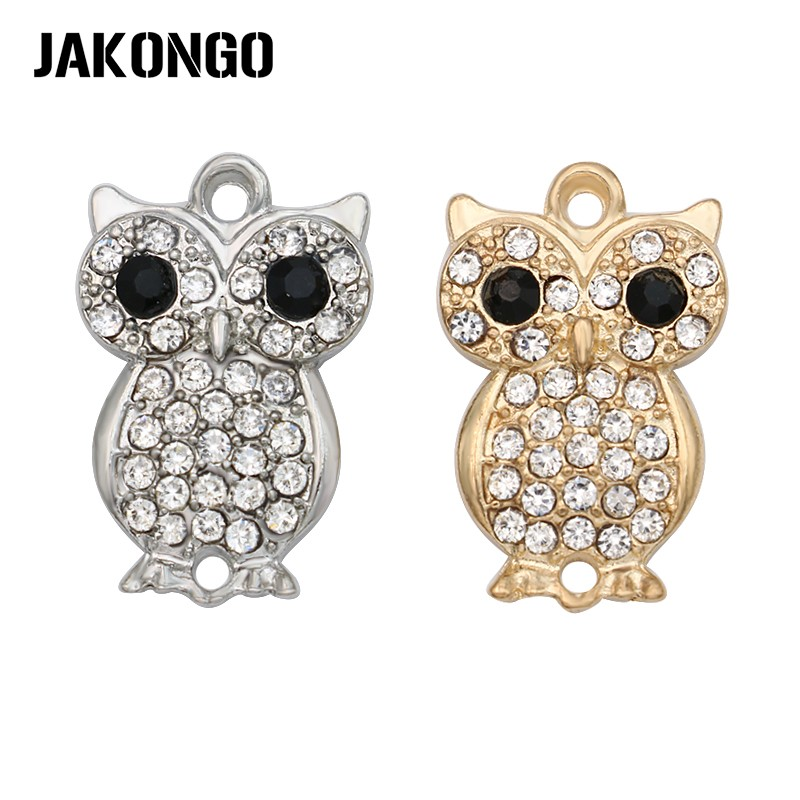 JAKONGO Antique Silver/Gold Color Crystal Owl Connectors Charm For Making Bracelet Jewelry Findings DIY Accessories 24*15mm 4pcs все цены