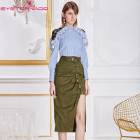 Hollow out lace patchwork long sleeve striped print blouse top + sexy bodycon split military green skirt suit two pieces set