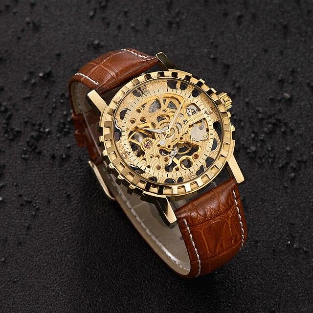 7563cb47dfd Original de Luxo OYW Homens De Ouro Esqueleto Homens Mecânicos do Relógio  Pulseira de Couro Moda