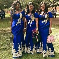 Королевское голубое платье подружки невесты в стиле русалки плюс размер аппликация золотого цвета свадебное платье для гостей с плеча горн