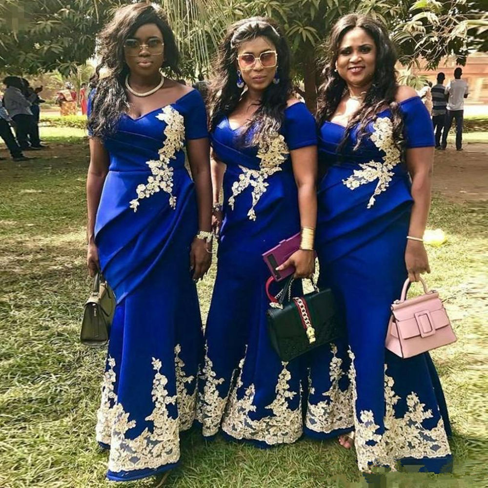 Royal Blue Mermaid   Bridesmaid     Dresses   Plus Size Gold Applique Wedding Guest   Dress   Off the shoulder Maid Of Honor Gowns 2019 Hot