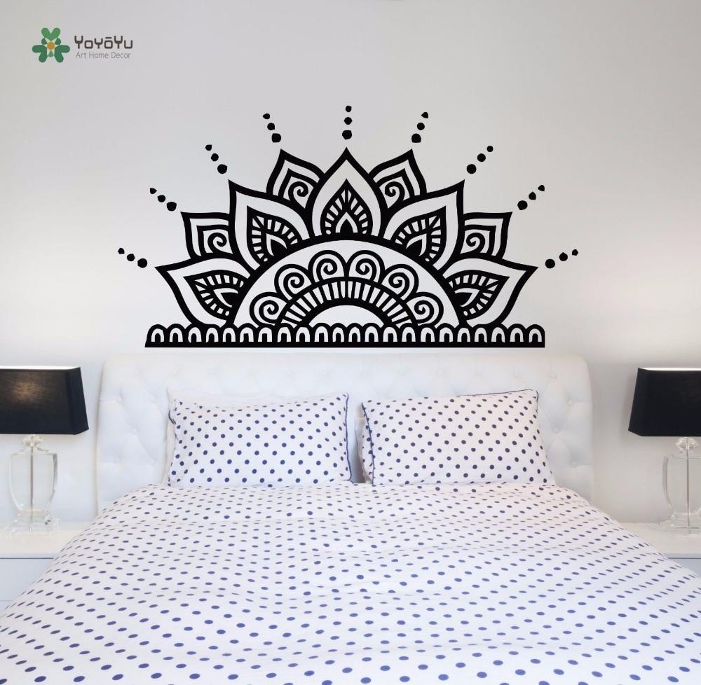 Decoration Murale Pour Tete De Lit €8.38 25% de réduction|yoyoyu sticker mural art vinyle chambre décoration  tête de lit stickers muraux amovible demi mandala autocollant bohème