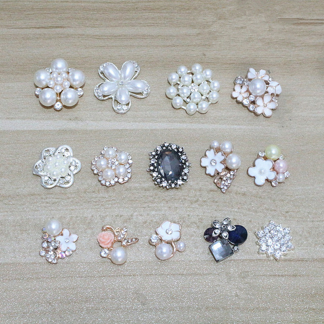 14pcs lot silver gold alloy base rhinestone pearl hair embellishments  hairbow center decorative brooches 6ceede60b0ca