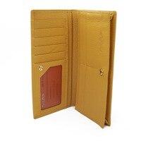 Импортные желтый RFID Кожаный Бумажник Для женщин безопасности бумажник с anti theft RFID защиты упаковка подарочная коробка