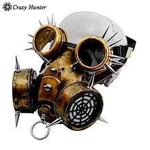 Steampunk من القوطية خمر المسامير قناع واقي من الغاز نظارات تأثيري الدعائم هالوين زي اكسسوارات الرجال/النساء