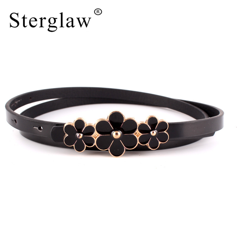 103x1cm Candy color 3 flower buckle belts for women dresses 2019 Female red leather belt brand