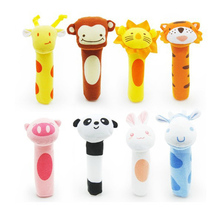 2016 newborn toys Soft Animal Model Handbells plush Rattles Rattle Cute Gift Baby toy 0-12months HT014