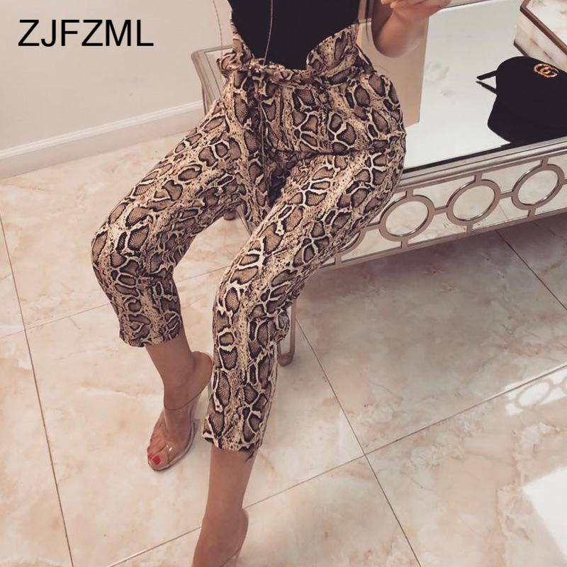 High Waist Snake Print Bud   Pants   Elegant Women Ruffles Straight Ankle-Length Trousers Casual Slim   Capris   with Belt 2019 Spring