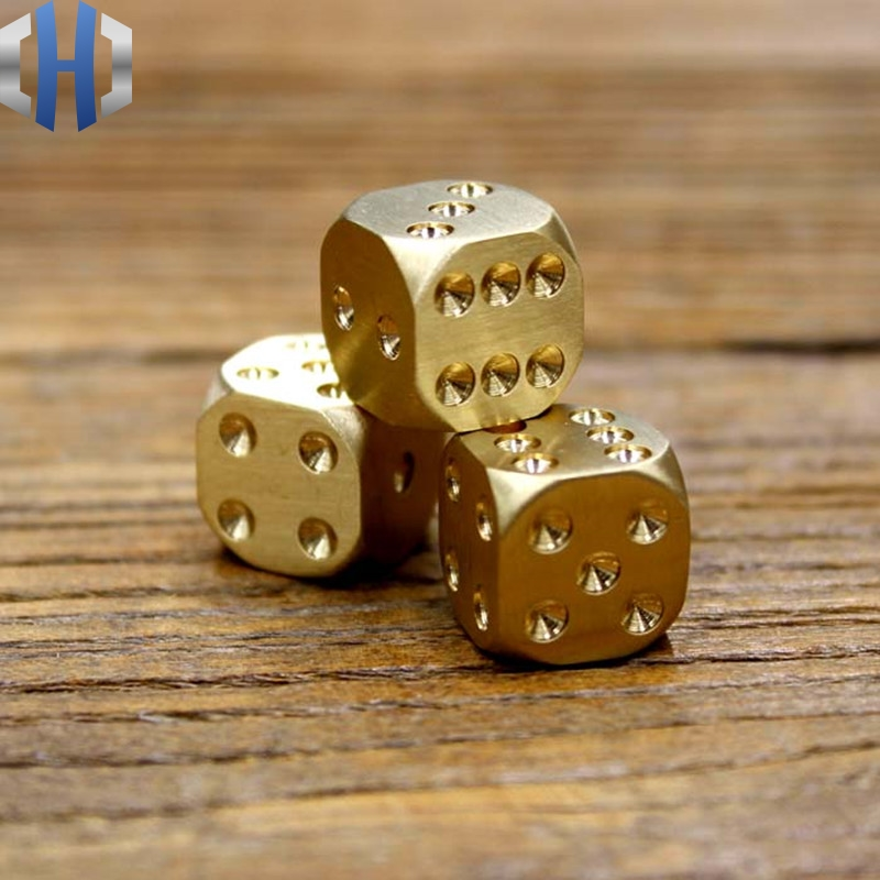 Manual Polished Pure Copper Dice Decorations Brass Dice Exquisite Dice Sieve Creative Mahjong Dice Bar Use Tools