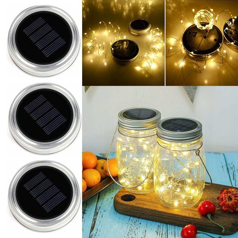 20 Led Solar Mason Jar Lid Fairy String Light Garden
