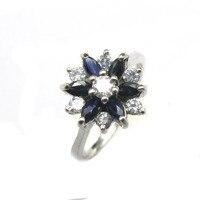 925 sterling silver Sapphire rings fashion gift for women jewelry love rings open fine jewelry j0008