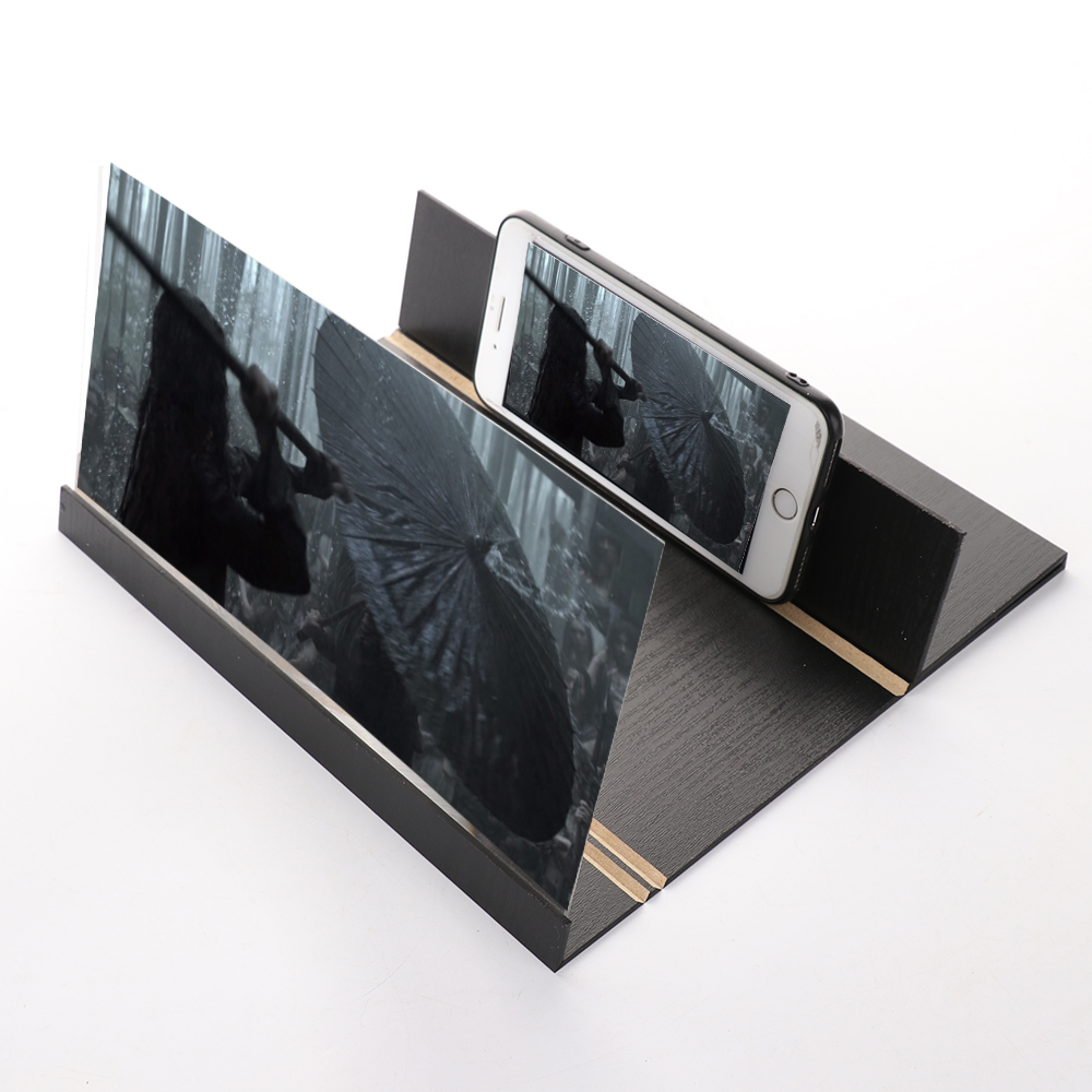 3D Phone Screen Magnifier Desktop 12 Inch Amplifying Glass 3D Stereoscopic Folding Video Amplifier Mobile Screen Wood Holders
