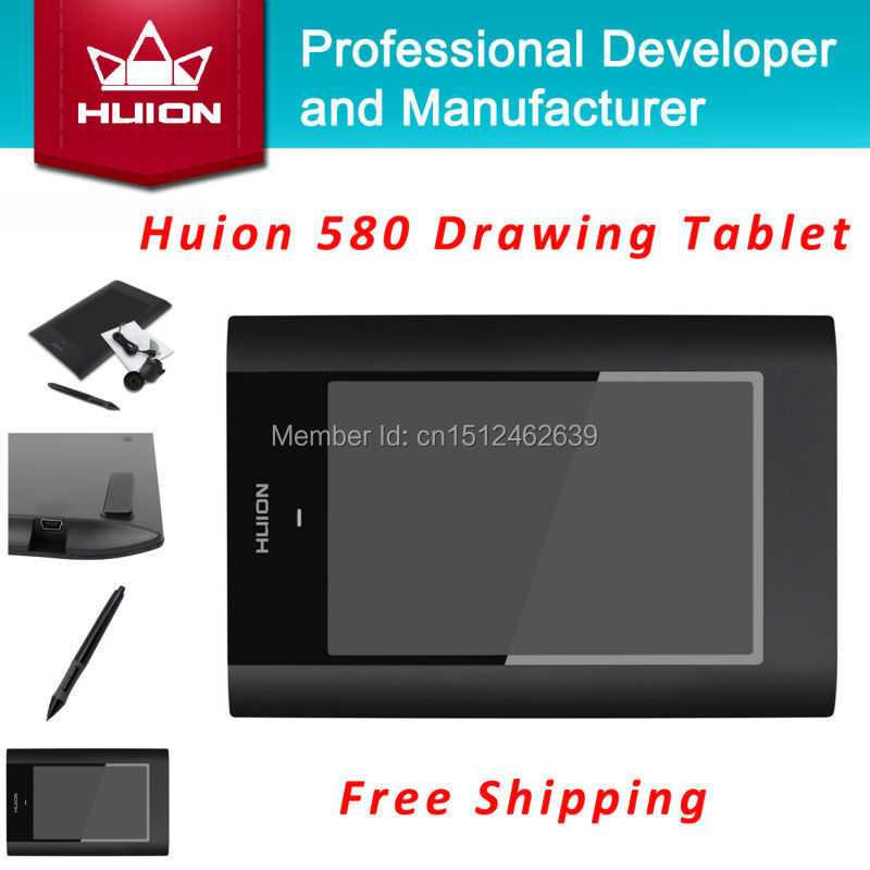 Hot Sale New HUION 580 8 X 5 Graphic Pen Tablets Professional Signature Digital Boards USB Graphics Pen Tablet For PC Black huion p608n usb 26 function keys graphic tablet black