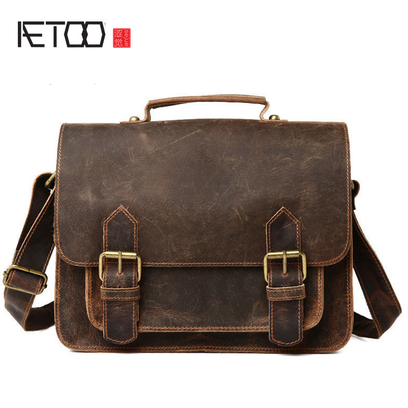 AETOO The new leather men s men s casual fashion retro style horseshoe handbag shoulder oblique tide package ...