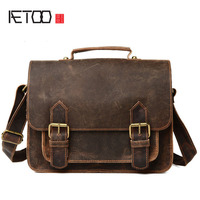 AETOO The New Leather Men S Men S Casual Fashion Retro Style Horseshoe Handbag Shoulder Oblique