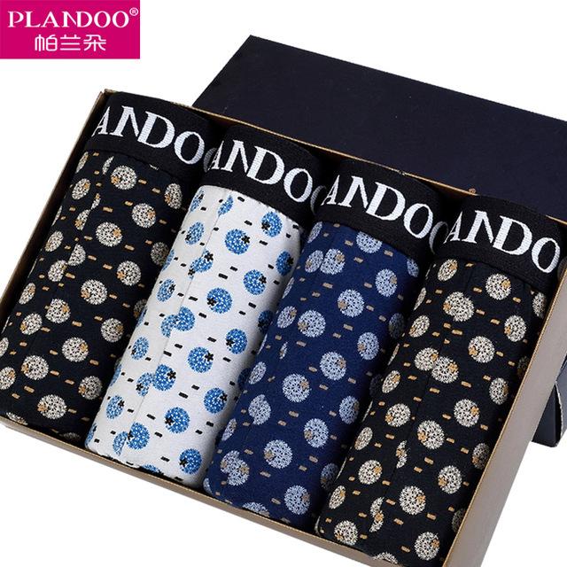 Plandoo 2016 cuecas boxer estampado de fantasía dandelion mens underwear transpirable bragas medio cintura creativo protact esperma 3 pack