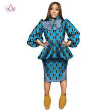African Clothes Women Ankara Tops Two Piece Set Long Sleeve Crops Tops    Skirt Set Women eae96222bdb8