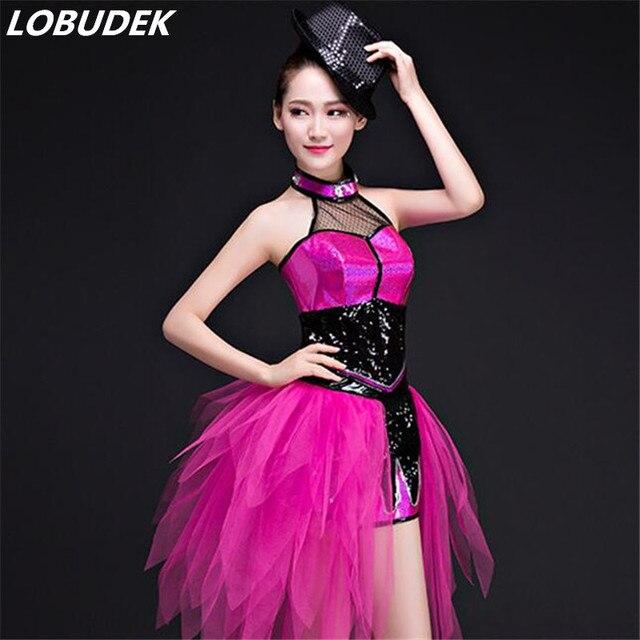 4534bbe92a5 Rose noir paillettes femmes costumes Festival jazz moderne danse DS costume  de scène chanteur équipe danseur
