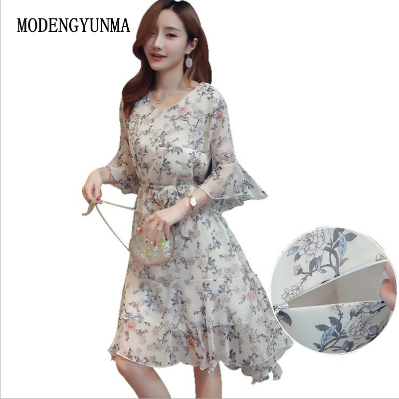 MODENGYUNMA Maternity Nursing Dress V-Neck chiffon dress for Pregnant Women Pregnancy Women's print dress summer Clothing 2018 original pro table tennis combo racket dhs power g13 pg13 pg 13 pg 13 with neo hurricane 3 and skyline tg 3 long shakehand fl