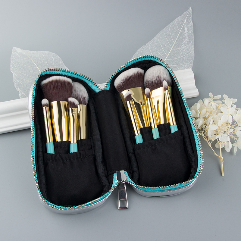 Anmor 9PCS Mini Soft Makeup Brushes Set Kit Portable Kabuki Brush For Make up Professional Cosmetic Travel Bag pincel maquiagemEye Shadow Applicator   -
