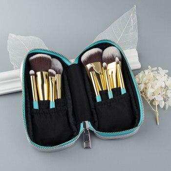Anmor 9PCS Mini Soft Makeup Brushes Set Kit Portable Kabuki Brush For Make up Professional Cosmetic Travel Bag pincel maquiagem 9pcs professional makeup make up cosmetic brush set kit tool with leather bag