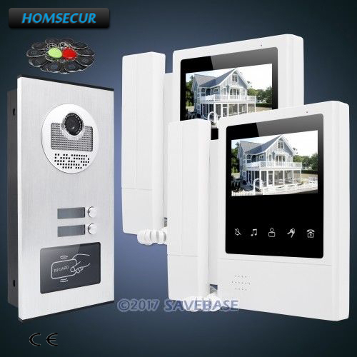 HOMSECUR 4.3 Multi Apartment Video&Audio Door Entry Kit+Outdoor Monitoring