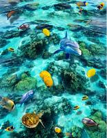 3d Floor Painting Wallpaper Sea World Dolphin Turtle Stereoscopic 3D To The Drawing Board Tiles 3d