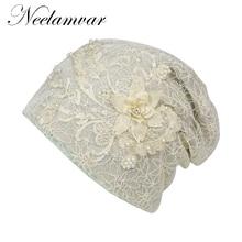 Neelamvar Brand Womens Beanie Hat Casual Polyester Shine Pearls&Rhinestones Beanies  Skull Hats Bonnet For Female
