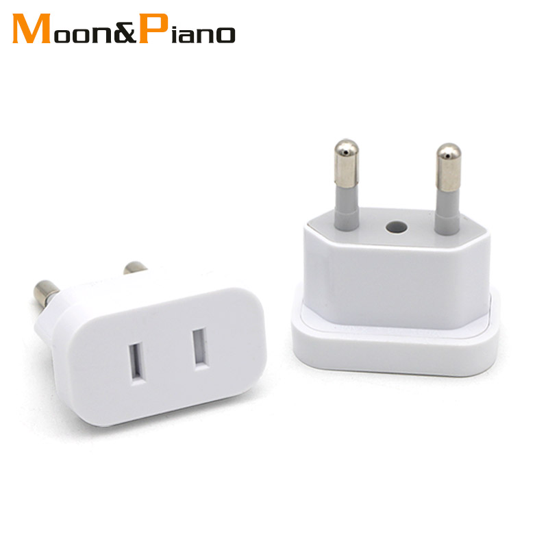 1PC US To EU Plug USA To Europe Travel Wall AC Power Plug Safety Door Design Charger Outlet Adapter Converter 2 Round Pin Socket image