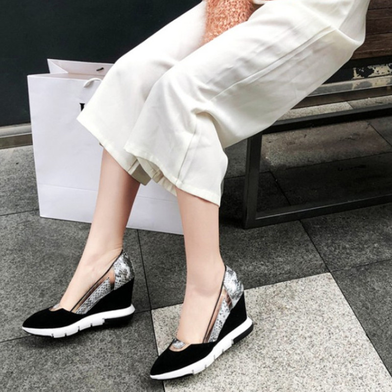 2019 Brand Suede Leather Shoes Wedge Heel Fashion Pointed Toe Casual Shoes Women Pumps Comfortable Ladies Shoes High Quanlity-in Women's Pumps from Shoes    2