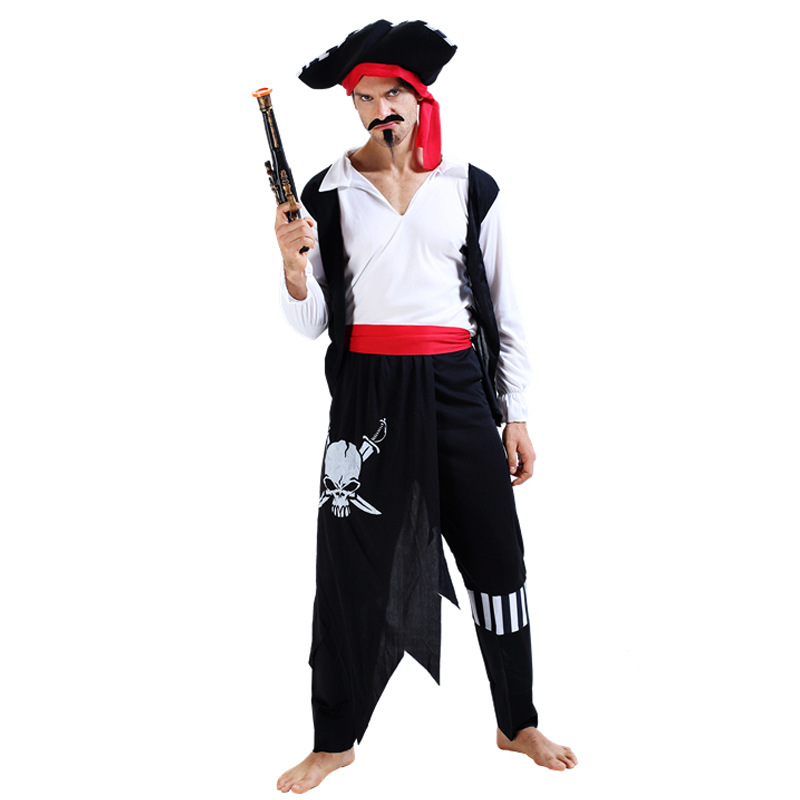 Halloween Carnival Party Costume for Men Cool Skull Pirate Costumes Adult Fancy Cosplay Clothing for Men