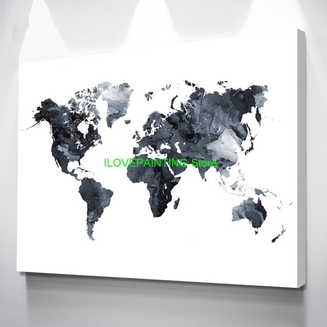 World Map Poster Watercolor Grey Black And White World Map Canvas