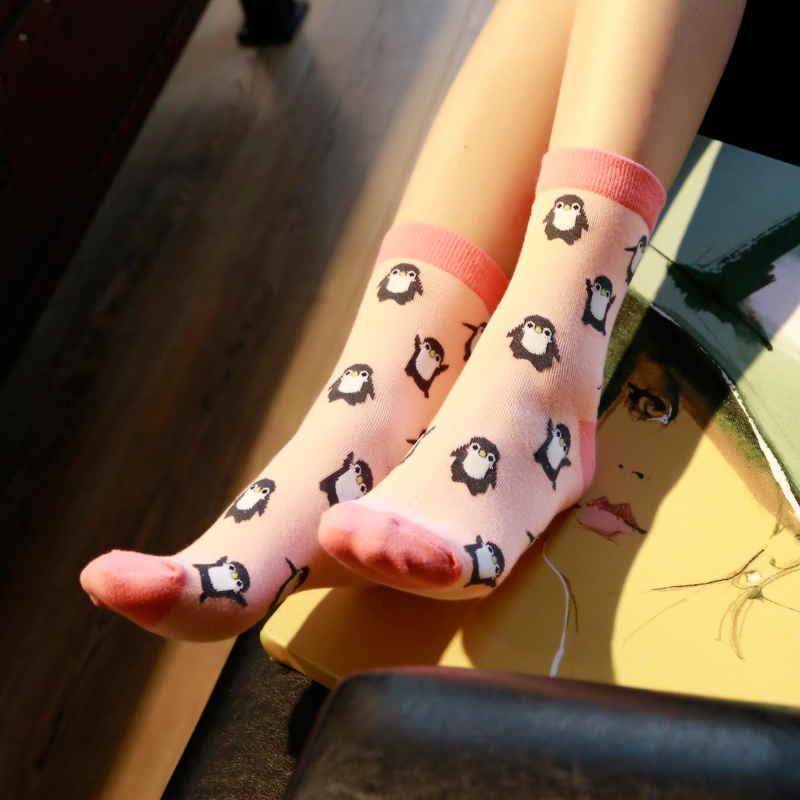 Winter Autumn New Women In Tube   Sock   Cartoon little Penguin Women   Socks   Fashion Cotton EUR35-40