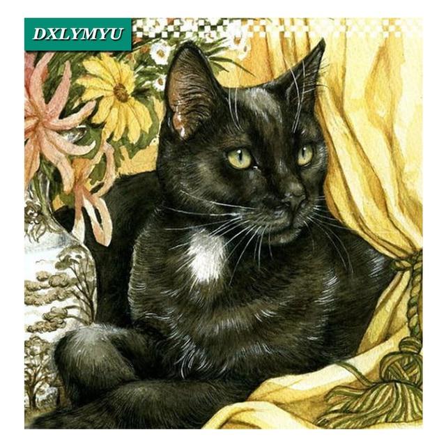3d Diy Diamond Painting Full Square Diamond Embroidery Black Cat