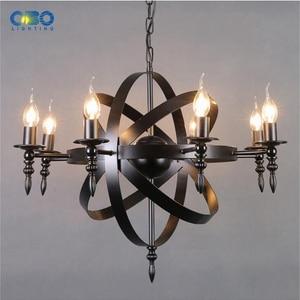 Image 4 - Lámpara colgante de hierro con forma de vela para comedor y centro comercial, iluminación Crod, 1,2 M, E27, 110 240V, color negro, Vintage, envío gratis