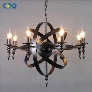 Image 4 - Vintage czarny świeca światła żelazna lampa wisząca jadalnia Mall oświetlenie cod wisiorek światła 1.2M E27 110 240V darmowa wysyłka