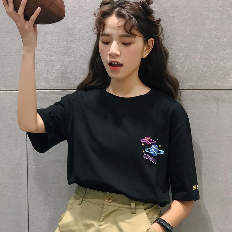 2018 Halajuku coton planète imprimé lettre brodée lâche casual manches courtes femme T-shirts