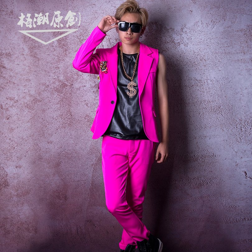 M-6XL!!Nightclub Male Singer DSDJ Big Show Catwalk GD Super Beautiful Rose Red Half Sleeve Suit Hairdresser Bar Costume Clothing