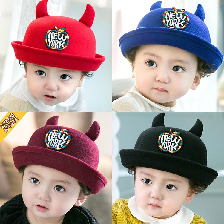 Korean children in autumn and winter baby hat horns Apple woolen bucket hats ef505e3afef
