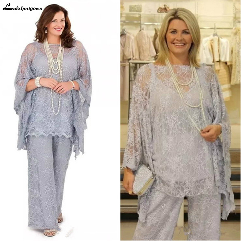 Lace Mother of the Bride Pant Suits 2019 Long Sleeves Three Pieces Silver Gray Wedding Guest Dresses Plus Size Formal madrinha