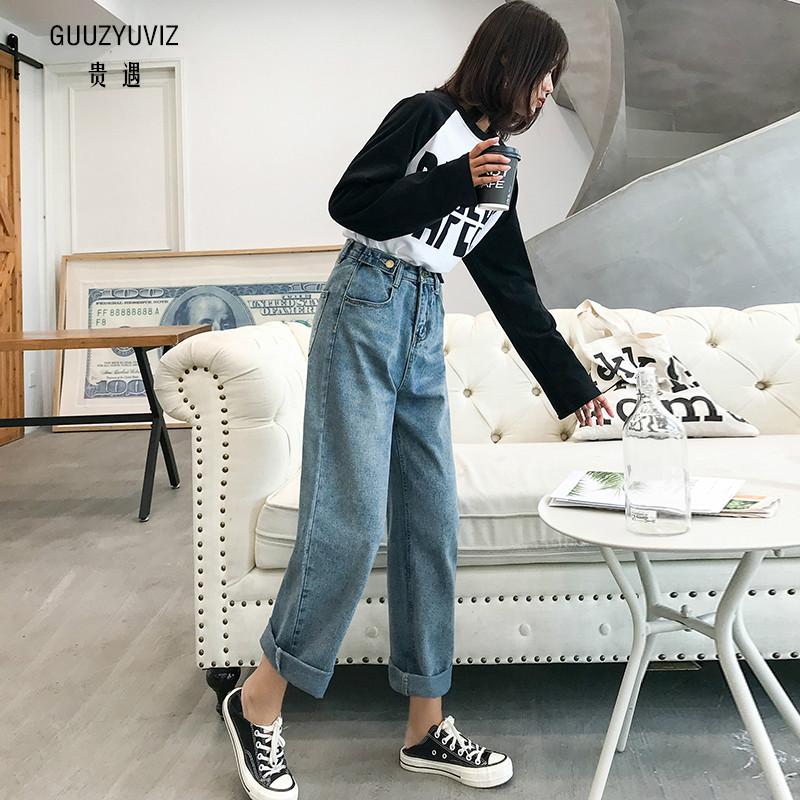 Jeans Guuzyuviz Autumn Winter Plus Size Jeans Woman Vintage Casual Print Hole Ripped Washed Cotton Denim High Wasit Pants Mujer Great Varieties