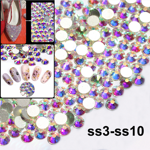 1440pcs SS3-SS10  Flatback Crystal and AB Rhinestones For Nail Art Decoration Shoes And Dancing Dress Decoration