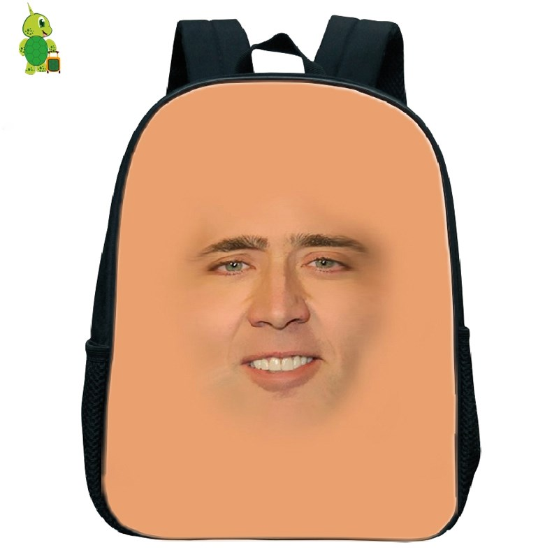 Nicolas Cage Face Funny Backpack Children School Bags Baby Boys Girls Primary Kindergarten Backpack Kids Small Book Bags Gift