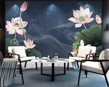 цена на beibehang Chinese style lotus TV background home decoration living room bedroom 3d wallpaper display hall background wall murals