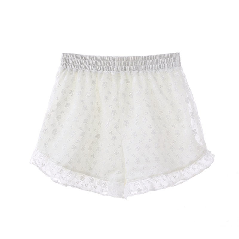 3 Pcs Women's Loose Shorts Ladies Embroidery Lace Comfortable Tiered Women Short Pants Girls Breathable Casual Panties Clothing(China)