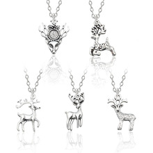 Fashion Sweet Christmas Animal Elk Necklace For Women Vintage Silver Men And Women Metal Animal Pendant Necklace Jewelry Gift цена