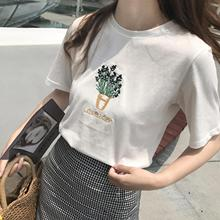 2017 Summer Cute Flower Embroidered White Loose Cotton Casual Short Sleeve Female T-shirts