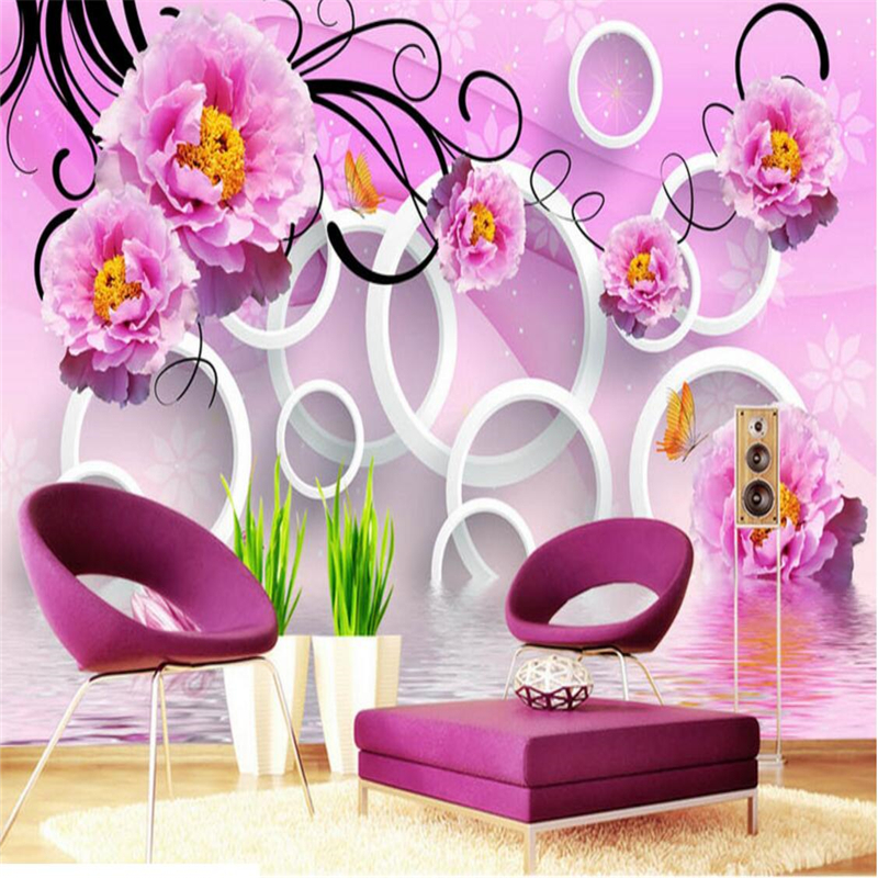 beibehang Custom photo wall murals wall stickers water flower reflection 3D TV backdrop papel de parede wallpaper for walls
