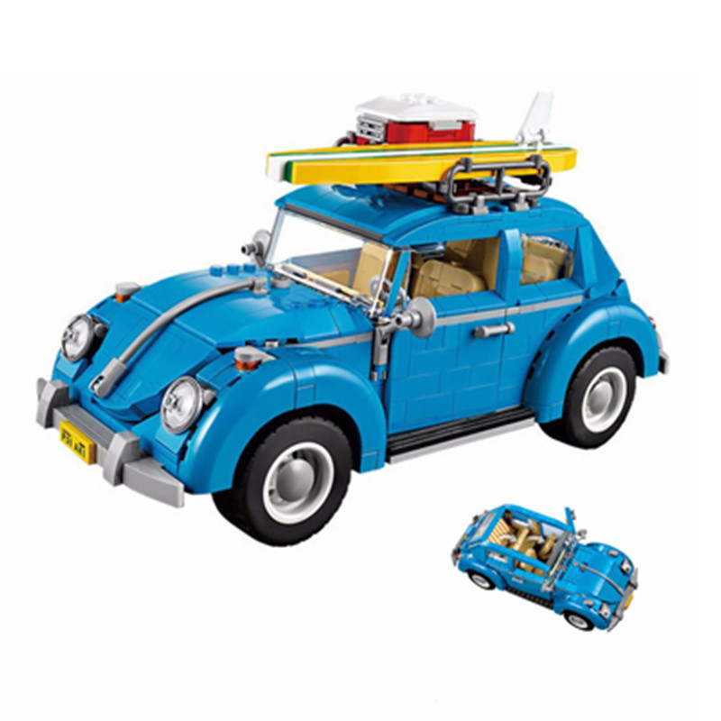 2018New Diy 21003 City Car Beetle Model Building Blocks Bricks Blue Car Toy Kid Gift Set Compatible CREATOR 10252 Technic Model lepin 21003 series city car beetle model building blocks blue technic children lepins toys gift clone 10252