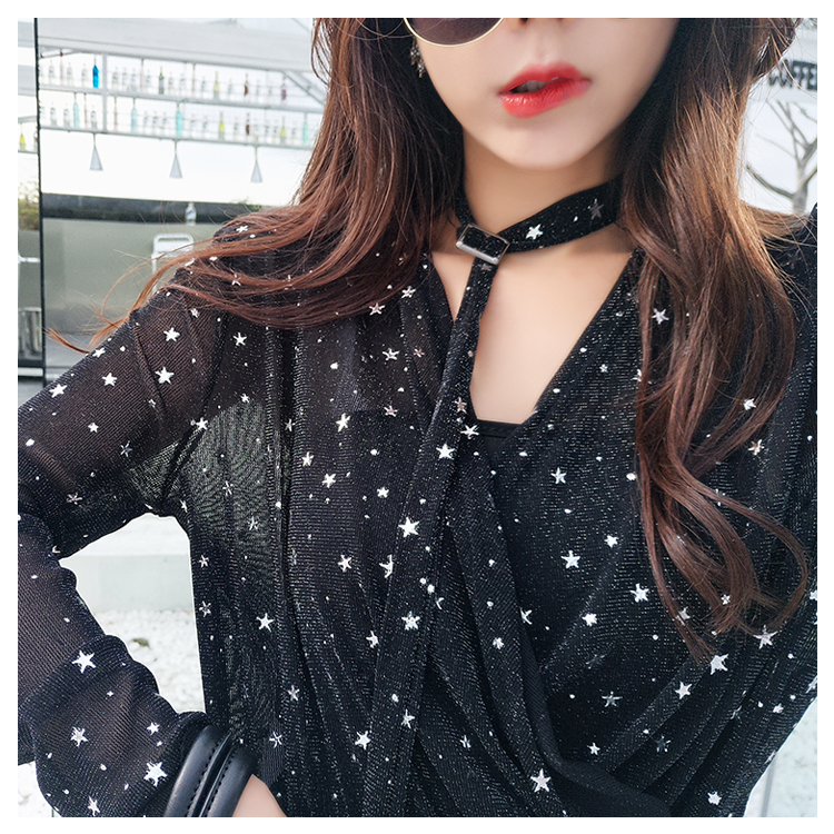 2018 Summer New Women Retro Temperament Wave Point Loose Slim V-neck Chiffon Shirt Blouses & Shirts